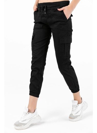 Tiffany&Tomato Kargo Çep Paça Lastikli Pantolon Siyah